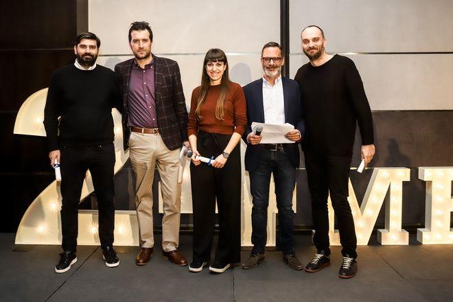 Από αριστερά: Παντελής Βλαχόπουλος, Μάνος Μίχαλος, Φραντζέσκα Γιατζόγλου-Watkinson, Πάνος Βελαχουτάκος, Θέμης Καίσαρης