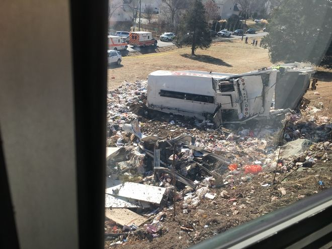 This photo provided by Rep. Bruce Poliquin, R-Maine shows damage to a garbage truck after it was hit by a chartered train carrying members of Congress in Crozet, Va., Wednesday, Jan. 31, 2018.  No lawmakers were believed injured.  (Bruce Poliquin via AP)