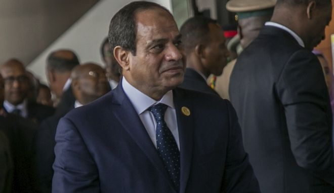 Egypt's President Abdel Fattah al-Sisi attends the opening ceremony of the African Union 28th Ordinary Session, in Addis Ababa, Ethiopia, Monday, Jan. 30, 2017.  The U.N. Secretary General Antonio Guterres on Monday commended African countries for opening their borders to refugees and people fleeing violence. (AP Photo/Mulugeta Ayene)