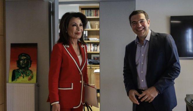 Συνάντηση του Αλ. Τσίπρα με την Γιάννα Αγγελοπούλου Δασκαλάκη για την ενίσχυση της προσπάθειας της Επιτροπής «Ελλάδα 2021» στο πλαίσιο των εκδηλώσεων που διοργανώνονται.