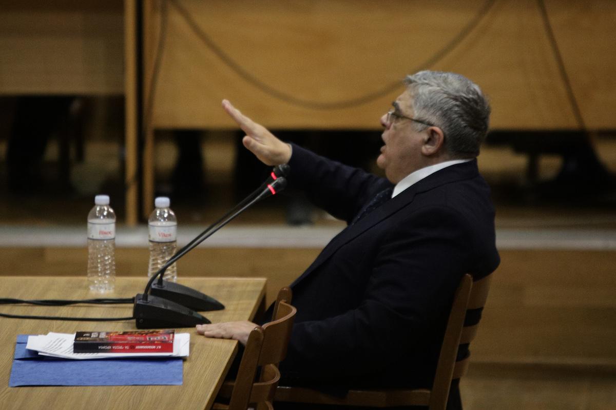 Απολογία του επικεφαλής του κόμματος Νίκου Μιχαλολιάκου στην δίκη της Χρυσής Αυγής την Τετάρτη 6 Νοεμβρίου 2019, στην αίθουσα του Εφετείου Αθηνών. Ο Ν. Μιχαλολιάκος απολογήθηκε ενώπιον των δικαστών και των παραγόντων της δίκης για το αδίκημα της ένταξης σε εγκληματική οργάνωση που βαρύνει όλα τα πολιτικά στελέχη της Χ.Α. που είχαν εκλεγεί βουλευτές το 2012.