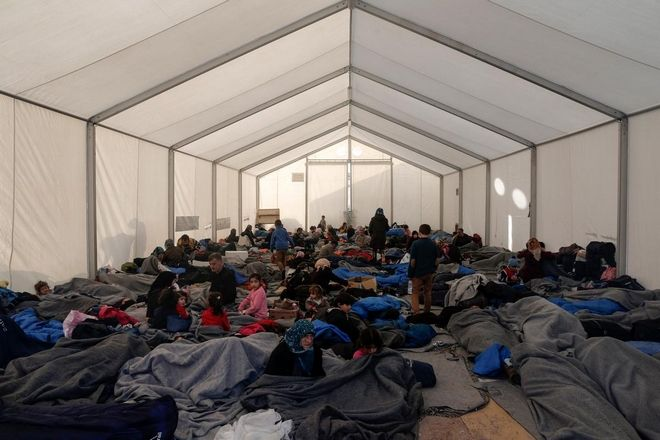 More than 7000 migrants and refugees stranded near the Greek village of Idomeni in the Greek - FYR of Macedonia border on March 1, 2016.