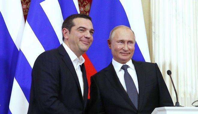 Ο Έλληνας πρωθυπουργός Αλέξης Τσίπρας με τον Ρώσο πρόεδρο Βλαντίμιρ Πούτιν στο Κρεμλίνο