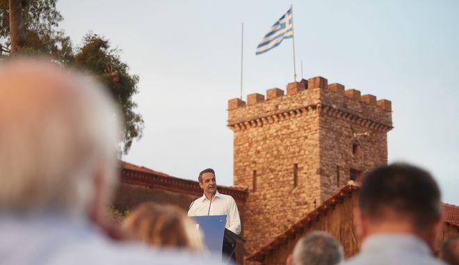 Στιγμιότυπο από ομιλία του Προέδρου της Νέας Δημοκρατίας Κυριάκου Μητσοτάκη
