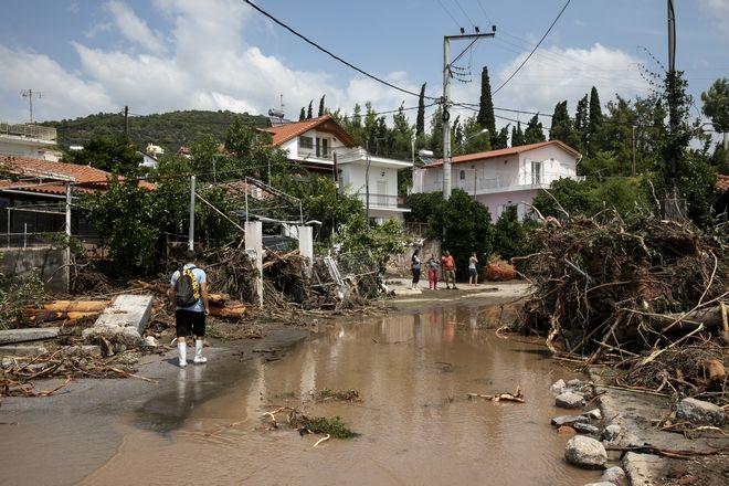 Εικόνα από τις πλημμύρες στην Εύβοια