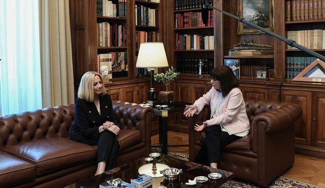 Συνάντηση της Προέδρου της Δημοκρατίας Κατερίνας Σακελλαροπούλου, με την Πρόεδρος του Κινήματος Αλλαγής Φώφη Γεννηματά την Τρίτη 9  Ιουνίου 2020.
