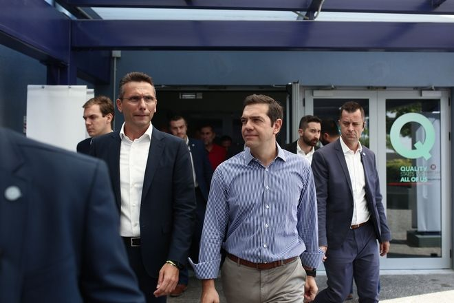 Greece's prime minister Alexis Tsipras visits the  Industry Plant of Papastratos in Aspropyrgos, Attica, Greece on August 29, 2017. /          « »   , 29  2017.