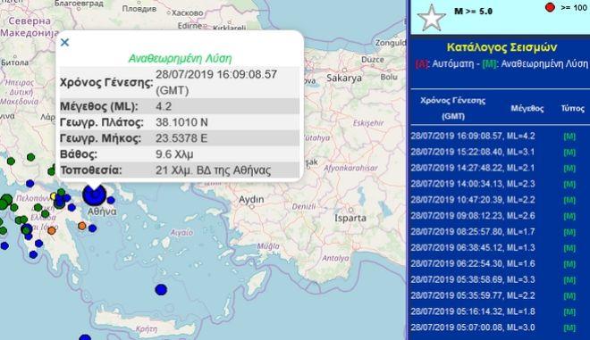 Ισχυρός σεισμός - Αισθητός σε πολλές περιοχές στην Αττική