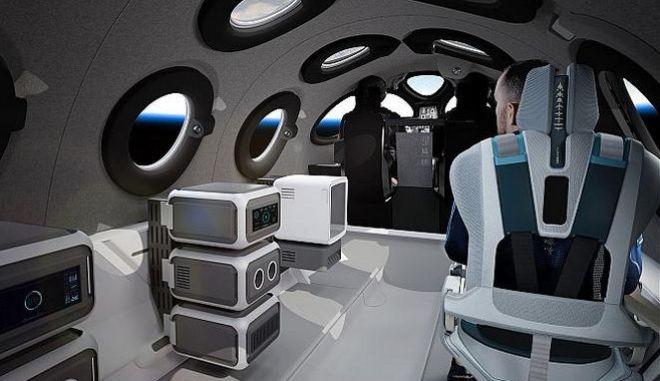 Η Virgin Galactic παρουσίασε το εσωτερικό της καμπίνας εντός της οποίας θα μεταφέρονται οι ταξιδιώτες του SpaceShipTwo για μια βόλτα μέχρι την άκρη του διαστήματος.