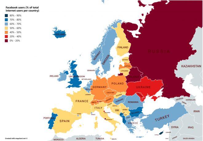 Ο χάρτης του Facebook στην Ευρώπη - Η θέση της Ελλάδας