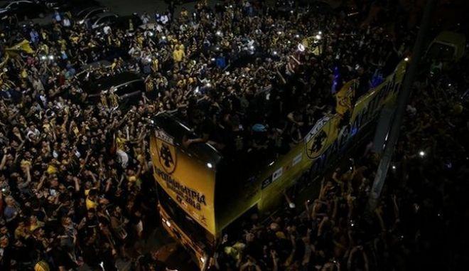 H AEK γιορτάζει την κατάκτηση του πρωταθλήματος