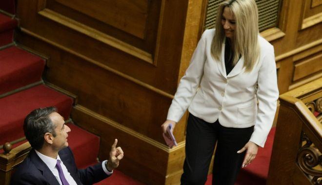Ο Κυριάκος Μητσοτάκης και η Φώφη Γεννηματά στη Βουλή