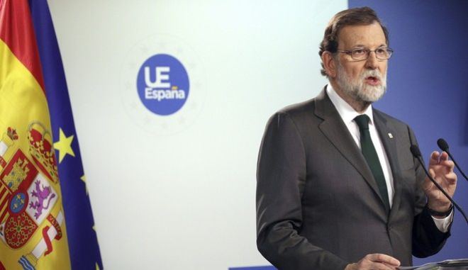 Spanish Prime Minister Mariano Rajoy speaks during a media conference at the conclusion of an EU summit in Brussels on Friday, Oct. 20, 2017. European Union leaders gathered Friday to weigh progress in negotiations on Britain's departure from their club as they look for new ways to speed up the painfully slow moving process. (AP Photo/Olivier Matthys)