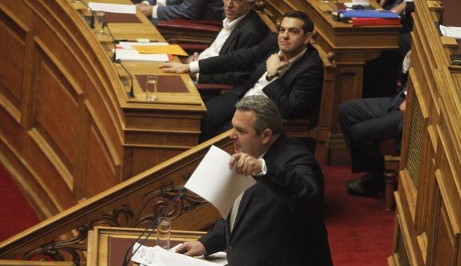 ΑΘΗΝΑ-ΒΟΥΛΗ-Προ ημερησίας διάταξης συζήτηση στη Βουλή για θέματα της Δικαιοσύνης. Την πρωτοβουλία για τη συζήτηση των πολιτικών αρχηγών είχε αναλάβει με επιστολή του προς τον πρόεδρο της Βουλής, Νίκο Βούτση, ο Πρωθυπουργός Αλέξης Τσίπρας// ΣΤΗ ΦΩΤΟΓΡΑΦΙΑ Ο ΠΑΝΟΣ ΚΑΜΜΕΝΟΣ ΠΡΟΕΔΡΟΣ ΑΝΕΛ  .(Eurokinissi- ΚΟΝΤΑΡΙΝΗΣ ΓΙΩΡΓΟΣ)