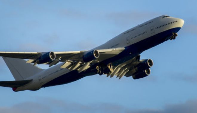 Boeing 747 Jumbo jet lifts off from airport
