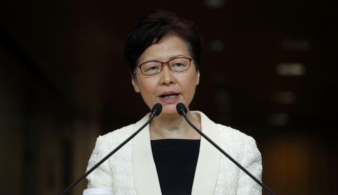 Η επικεφαλής της κυβέρνησης του Χονγκ Κονγκ Κάρι Λαμ