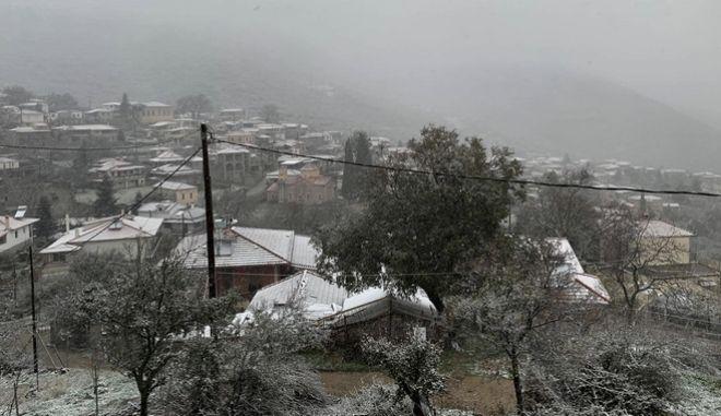 Χιονισμένο χωριό. Φωτο αρχείου.