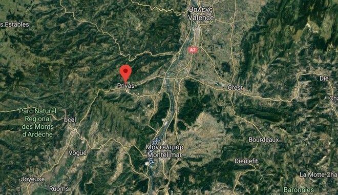 Το επίκεντρο του σεισμού στην περιοχή Πριβάς, Νότια της Γαλλίας