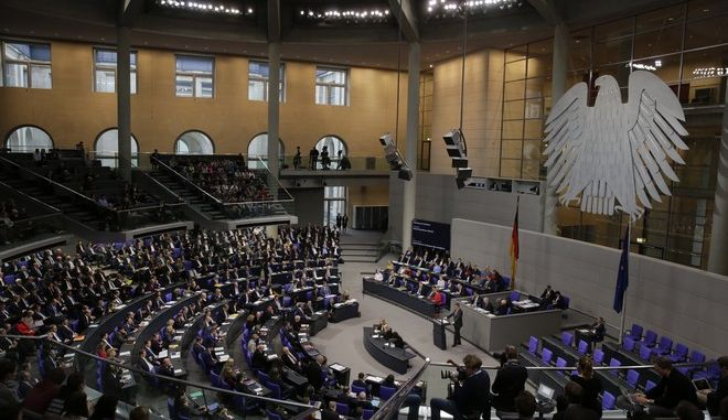 General view inside the plenary hall of the German parliament Bundestag during a session in Berlin, Tuesday, Nov. 21, 2017. (AP Photo/Markus Schreiber)