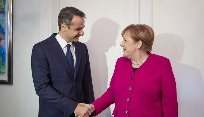 Ο Κυριάκος Μητσοτάκης με την Άνγκελα Μέρκελ τον Ιανουάριο του 2019
