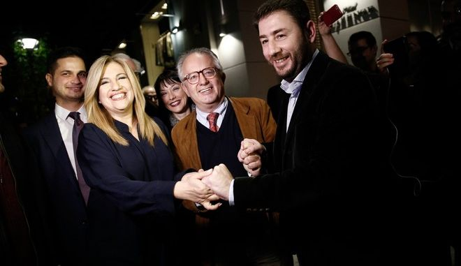 Meeting of the winner of the elections for the leadership of the new center-left Fofi Gennimata and the candidate Nikos Androulakis with the chairman of the Independent Procedure and Ethics Committee Professor Nikos Alivazatos at the Lozenge Hotel following the announcement of the results, in Athens, Greece, on November 19, 2017. /                                   Lozenge     , , , 19  2017.