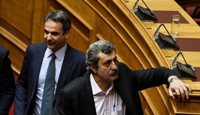 Ο πρόεδρος της ΝΔ Κυριάκος Μητσοτάκης και ο αν. υπουργός Υγείας Παύλος Πολάκης