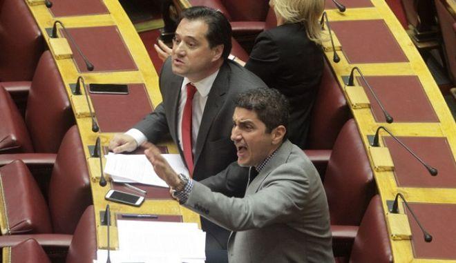 Άδωνις Γεωργιάδης και Λευτέρης Αυγενάκης στα έδρανα της Βουλής