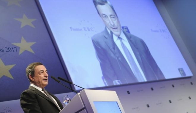 Mario Draghi, President of the European Central Bank (ECB), speaks during the Frankfurt European Banking Congress win Frankfurt, Germany, Nov. 17, 2017. (Arne Dedert/dpa via AP)