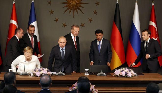 Από παλαιότερη συνάντηση των ηγετών Γερμανίας, Ρωσίας, Γαλλίας, Τουρκίας.