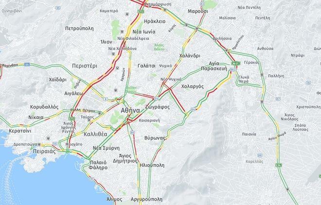 Κίνηση στους δρόμους: Κυκλοφοριακό κομφούζιο στην Αθήνα λόγω της κακοκαιρίας