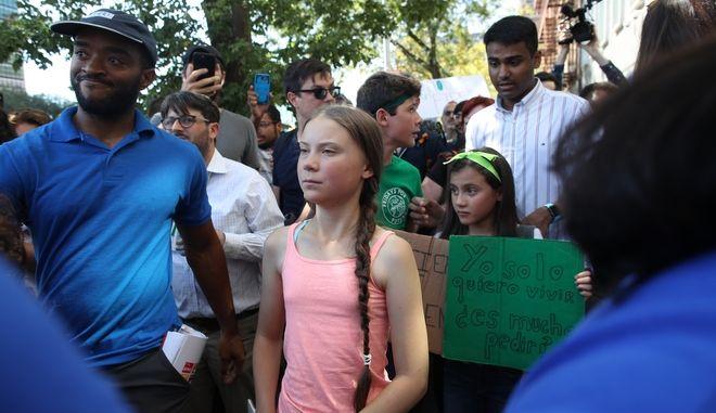 Η Γκρέτα Τούνμπεργκ σε διαδηλώσεις στις ΗΠΑ
