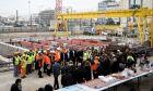 Επίσκεψη του Υπουργού Μεταφορών και Υποδομών Κώστα Καραμανλή στα έργα του μετρό στον Πειραιά.