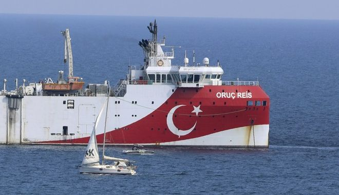 Το τουρκικό ερευνητικό πλοίο Oruc Reis ανοιχτά των ακτών της Αττάλειας τον Σεπτέμβριο του 2020
