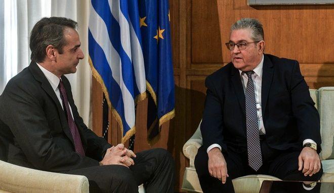 Συνάντηση του Πρωθυπουργού Κυριάκου Μητσoτάκη με τον Γενικό Γραμματέα του ΚΚΕ Δημήτρη Κουτσούμπα την Δευτέρα 23 Ιανουαρίου 2020.