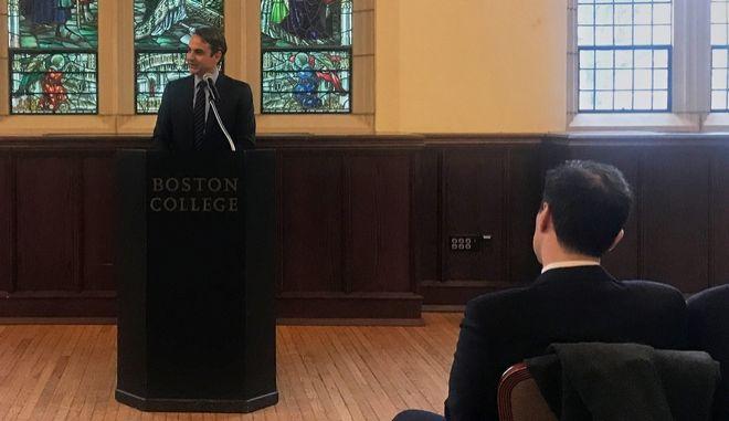 Εισήγηση του Προέδρου της Νέας Δημοκρατίας Κυριάκου Μητσοτάκη στην ελληνική κοινότητα του Κολεγίου της Βοστώνης. (EUROKINISSI/ΓΡΑΦΕΙΟ ΤΥΠΟΥ ΝΔ)