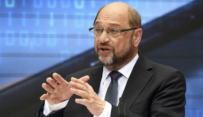 Candidate of the German Social Democrats, SPD, for the upcoming election Martin Schulz delivers a speech where he presented his plan for the future in Berlin, Germany, Sunday, July 16, 2017. Chancellor Angela Merkels challenger in Germanys election Schulz is calling for the government to be obliged to invest more in infrastructure such as roads, railways and schools. (Maurizio Gambarini/dpa via AP)
