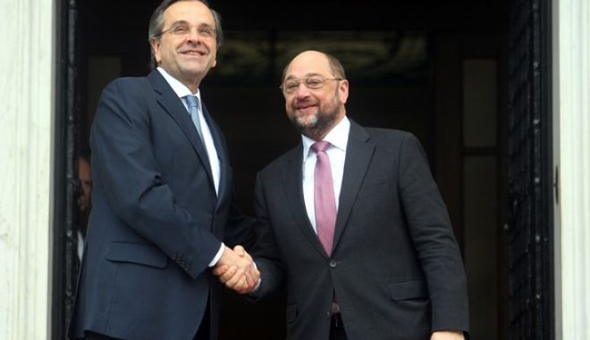 ΑΘΗΝΑ-Συνάντηση του πρωθυπουργού Α. Σαμαρά με τον πρόεδρο του Ευρωπαϊκού Κοινοβουλίου Μάρτιν Σουλτς.(EUROKINISSI-ΤΑΤΙΑΝΑ ΜΠΟΛΑΡΗ)