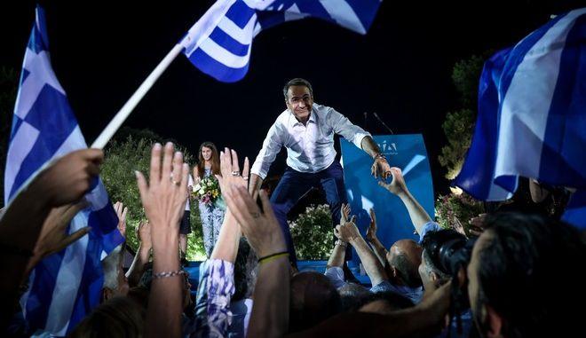 Καρέ από την κεντρική προεκλογική συγκέντρωση της Νέας Δημοκρατίας στην Αθήνα στο Θησείο,με ομιλία του Προέδρου Κυριάκου Μητσοτάκη