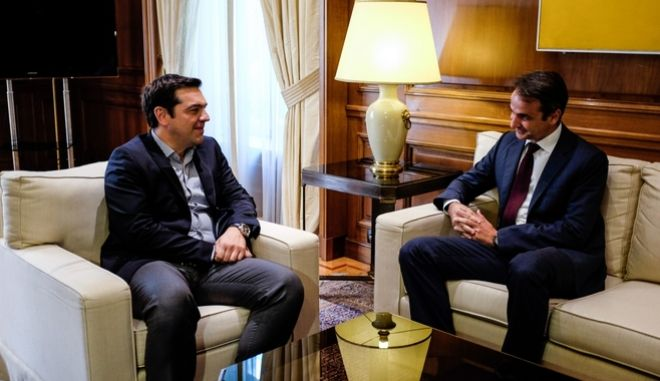 Meeting between the greek prime minister Alexis Tsipras and the president of New Democracy party Kyriakos Mitsotakis, in Athens, on June 23, 2016 /             ,  ,  23  2016