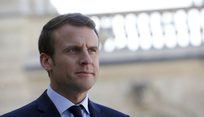 France's President Emmanuel Macron gives a speech with his Peruvian counterpart Pedro Pablo Kuczynski, after a meeting, at the Elysee Palace, in Paris, Thursday, June 8, 2017. (AP Photo/Thibault Camus)