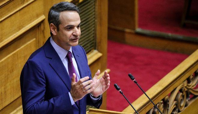 Ο πρόεδρος της ΝΔ Κυριάκος Μητσοτάκης στη συζήτηση επί της προτάσεως του πρωθυπουργού για παροχή ψήφου εμπιστοσύνης στην κυβέρνηση