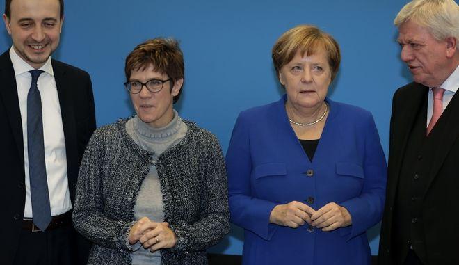 Paul Ziemiak, Annegret Kramp-Karrenbauer, Angela Merkel, Volker Bouffier