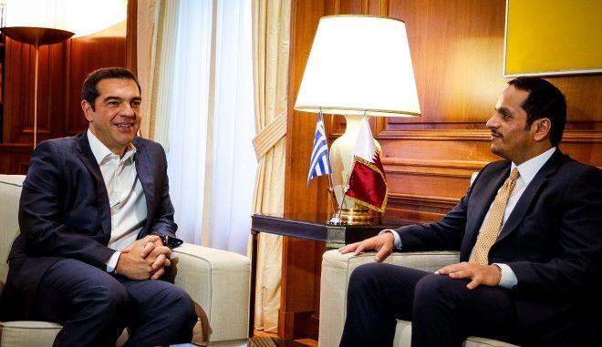 Ο πρωθυπουργός Αλέξης Τσίπρας συναντήθηκε σήμερα με τον αναπληρωτή πρωθυπουργό και ΥΠΕΞ του Κατάρ,Σεϊχη Mohammed bin Abdulrahman Al-Thani