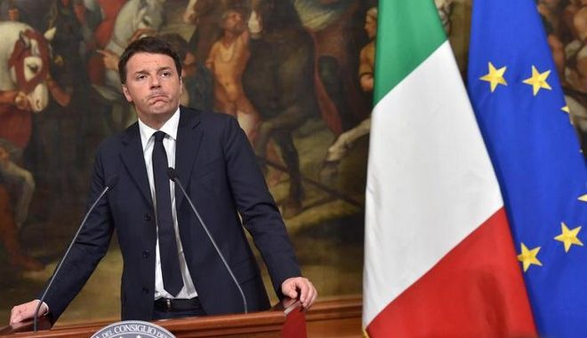 Italian Prime Minister Matteo Renzi speaks during a statement in response to the attacks in Brussels at Chigi palace Premier's office in Rome, Italy, 22 March 2016. Italy has increased security in the wake of the explosions in Brussels, following terror attacks at Brussels airport and on the metro system which claimed multiple lives and injured many others.   ANSA/ETTORE FERRARI