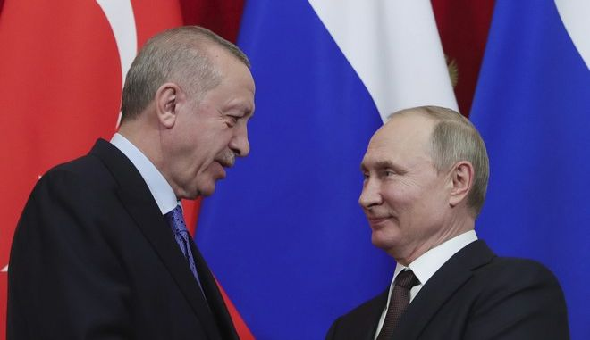 Οι Ρετζέπ Ταγίπ Ερντογάν και Βλαντίμιρ Πούτιν σε συνάντησή τους στη Μόσχα τον Μάρτιο του 2020