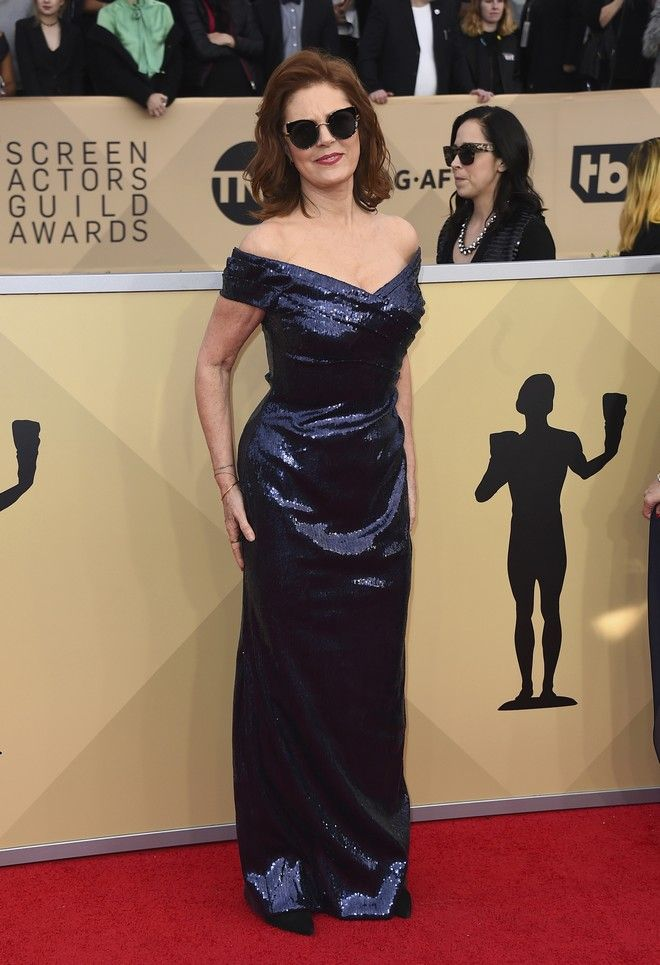 Susan Sarandon arrives at the 24th annual Screen Actors Guild Awards at the Shrine Auditorium & Expo Hall on Sunday, Jan. 21, 2018, in Los Angeles. (Photo by Jordan Strauss/Invision/AP)