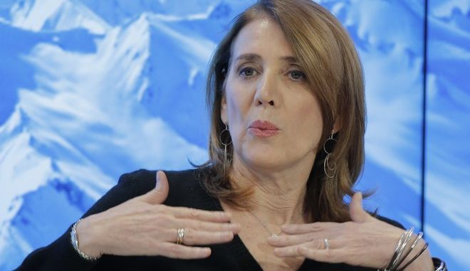Senior Vice-President of Alphabet Ruth Porat gestures as she speaks during a panel 'Size matters: The Future of Big Business' at the 'World Economic Forum' in Davos, Switzerland, Tuesday, Jan. 17, 2017. Business and world leaders are gathering for the annual meeting 'World Economic Forum ' in Davos. (AP Photo/Michel Euler)