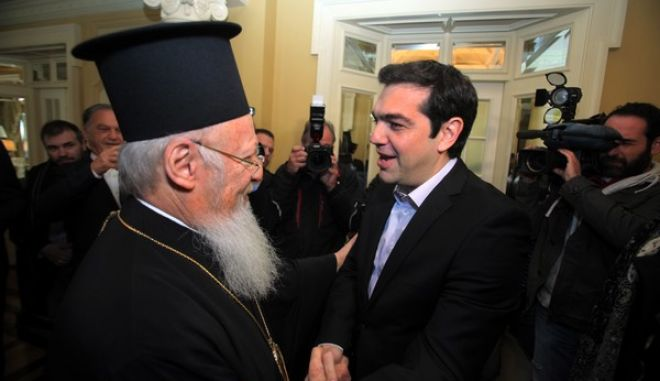 ΑΘΗΝΑ-9/1/2014.Ο πρόεδρος του ΣΥΡΙΖΑ, Αλέξης Τσίπρας είχε συνάντηση με τον Οικουμενικό Πατριάρχη Βαρθολομαίο.(EUROKINISSI-ΚΩΣΤΑΣ ΚΑΤΩΜΕΡΗΣ)