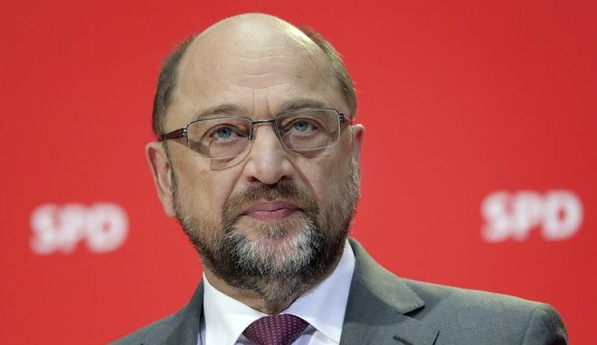 Martin Schulz, chairman of the German Social Democrats, attends a news conference in Berlin, Germany, Monday, Nov. 20, 2017. The leader of Germany's main center-left party says it will stick by its refusal to join a new government under conservative Chancellor Angela Merkel. (AP Photo/Michael Sohn)