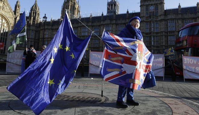 Διαδηλώτρια έξω από το κοινοβούλιο στο Λονδίνο
